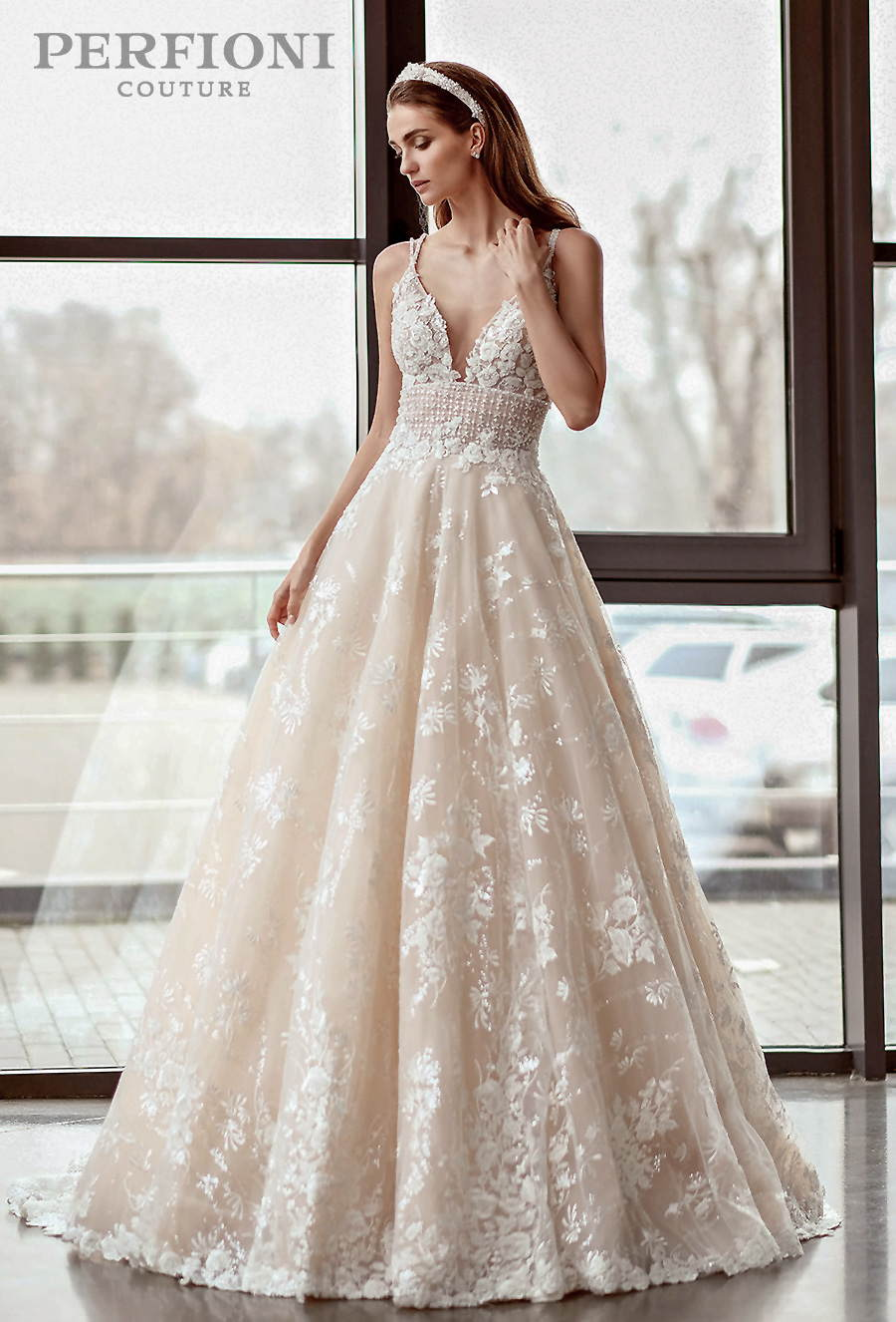perfioni 2020 love season bridal sleeveless double strap v neck full embellishment romantic ivory a line wedding dress v back medium train (abigail) mv