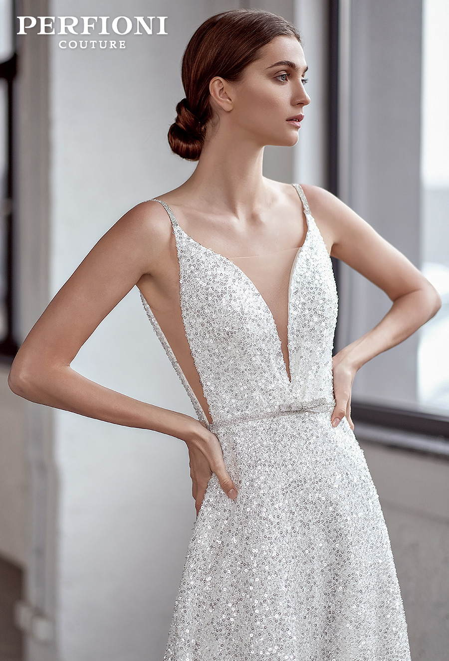 perfioni 2020 love season bridal sleeveless thin strap deep sweetheart neckline sexy glamorous a line wedding dress (stella) zv mv