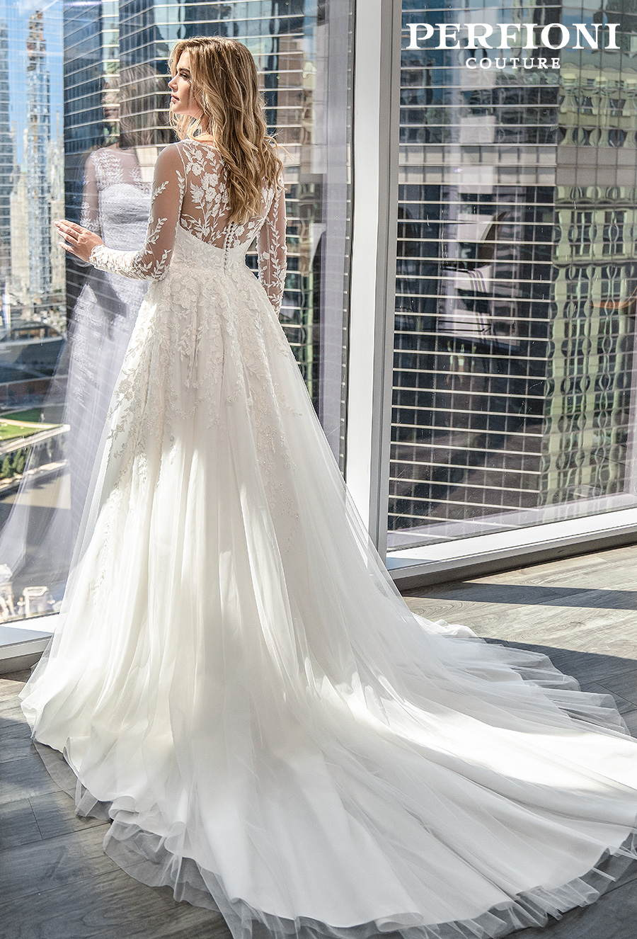 perfioni 2020 piter martines bridal long sleeves illusion jewel sweetheart neckline heavily embellished bodice romantic a line wedding dress sheer lace button back chapel train (004) mv bv