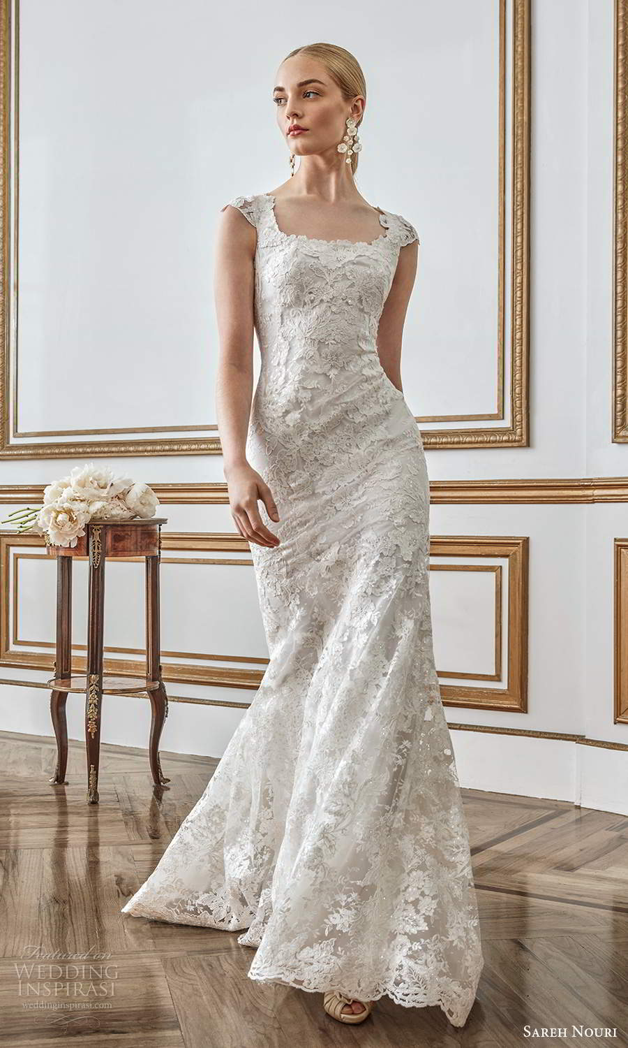 sareh nouri fall 2021 bridal mini cap sleeves square neckline fully embellished lace sheath wedding dress sweep train (12) mv