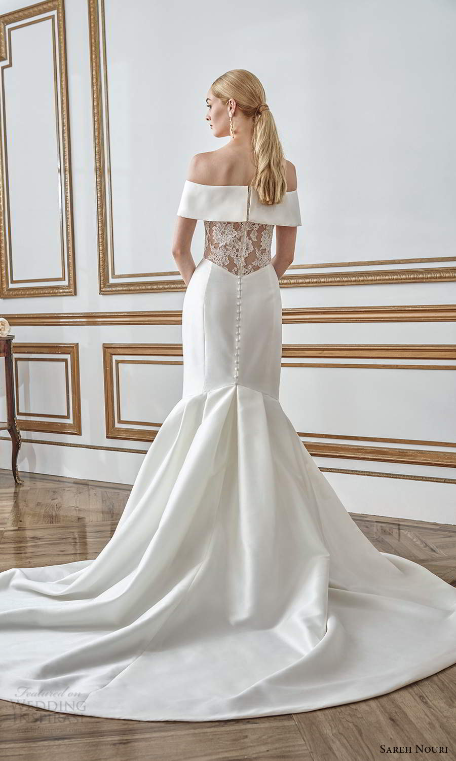 sareh nouri fall 2021 bridal off shoulder sleeves straight across neckline keyhole bodice clean minimalist mermaid wedding dress chapel train (1) bv