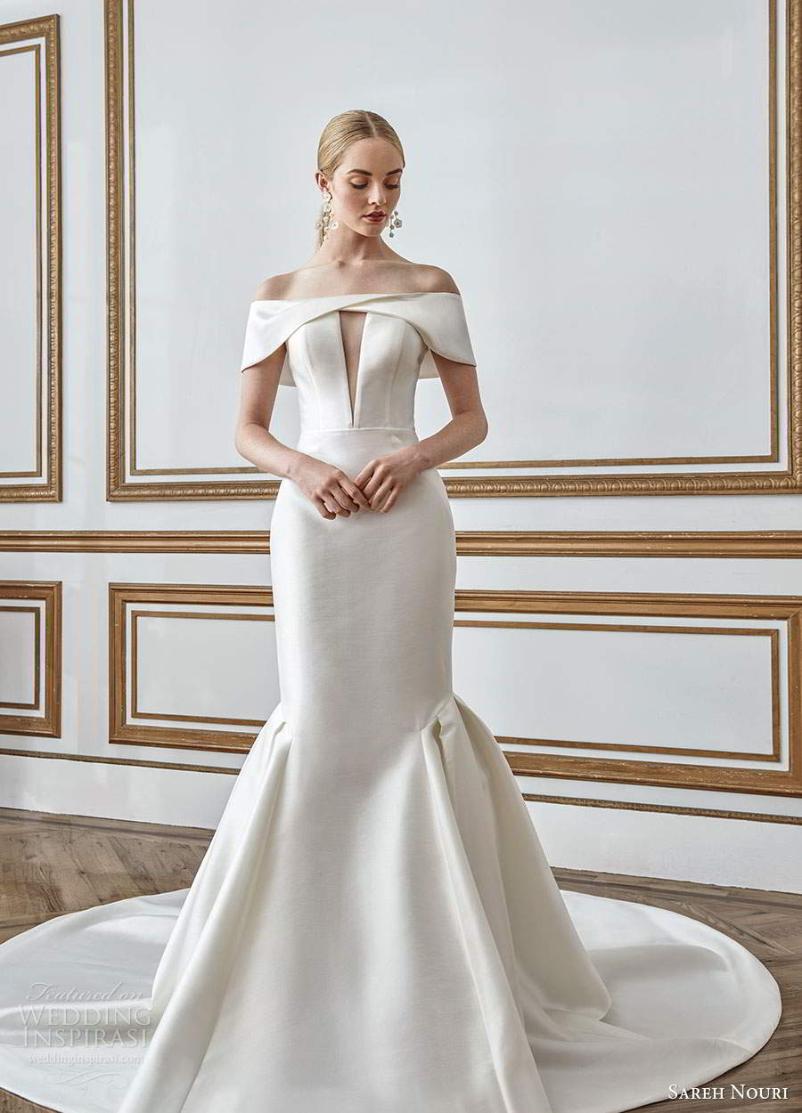sareh nouri fall 2021 bridal off shoulder sleeves straight across neckline keyhole bodice clean minimalist mermaid wedding dress chapel train (1) mv