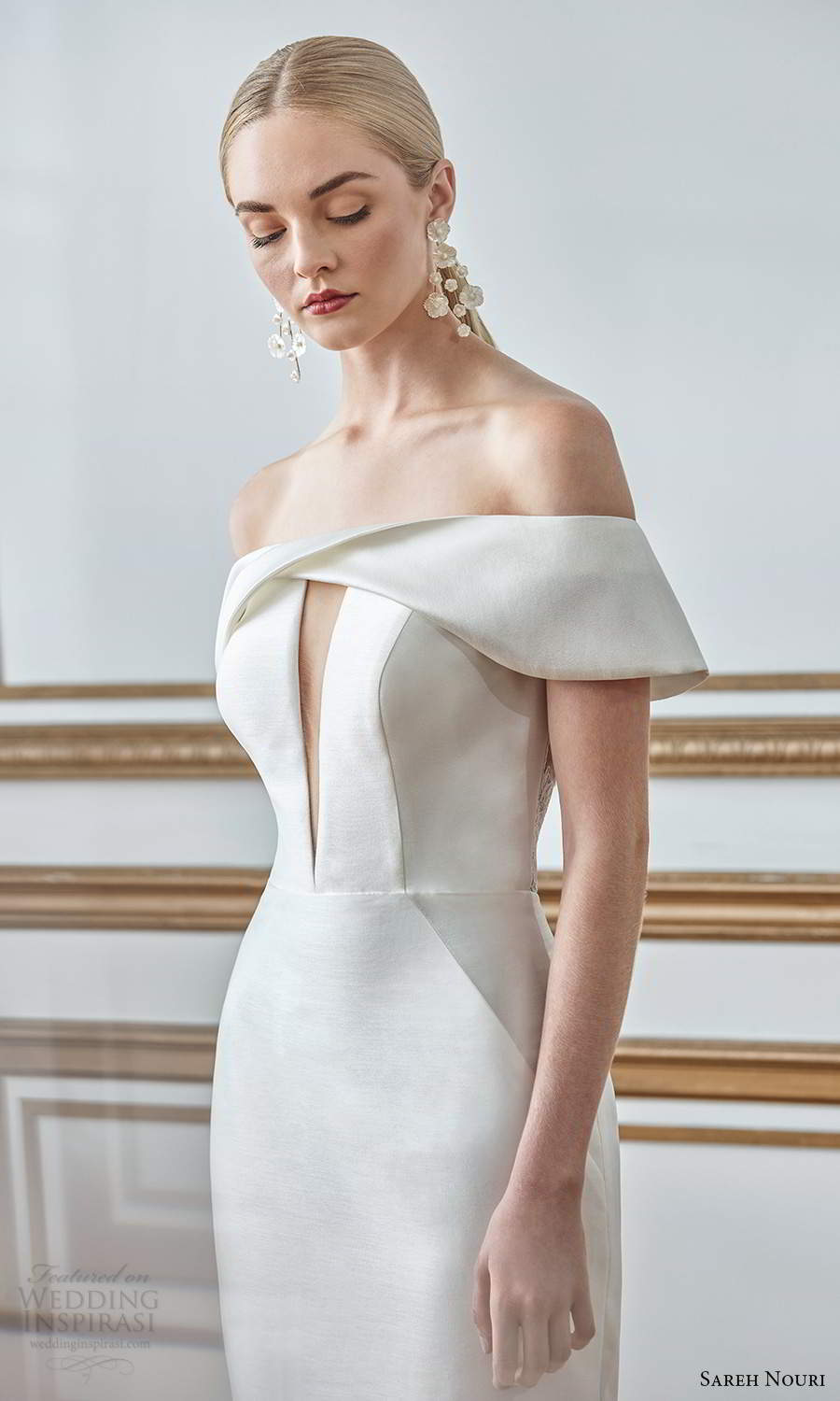 sareh nouri fall 2021 bridal off shoulder sleeves straight across neckline keyhole bodice clean minimalist mermaid wedding dress chapel train (1) zv