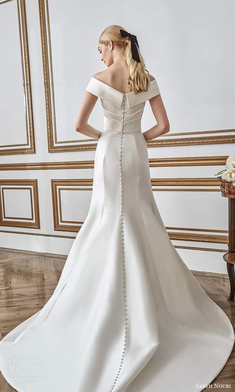 sareh nouri fall 2021 bridal off shoulder sleeves v neckline ruched bodice fit flare mermaid wedding dress chapel train (10) bv