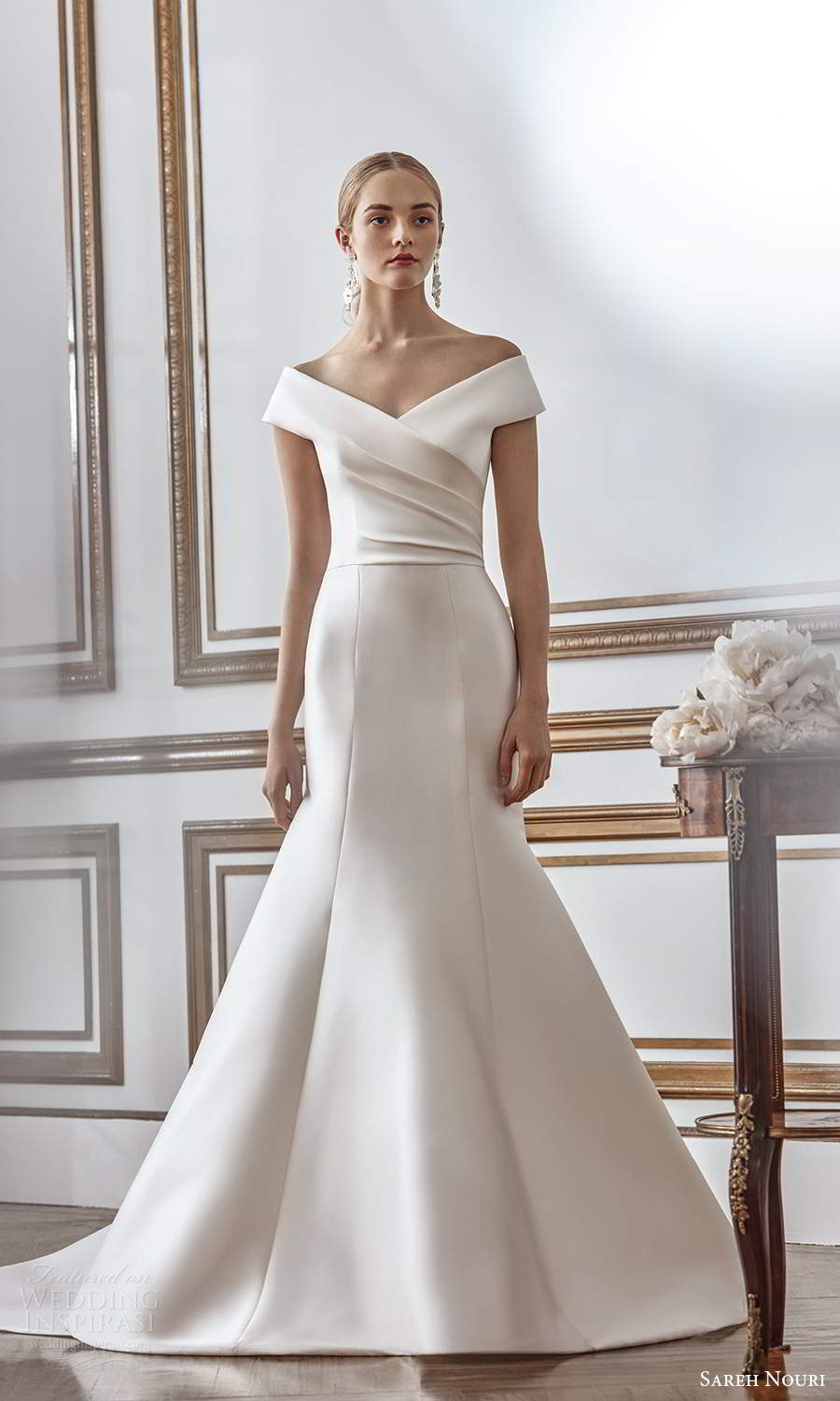 sareh nouri fall 2021 bridal off shoulder sleeves v neckline ruched bodice fit flare mermaid wedding dress chapel train (10) mv