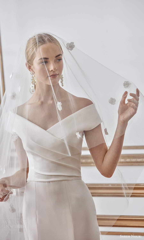 sareh nouri fall 2021 bridal off shoulder sleeves v neckline ruched bodice fit flare mermaid wedding dress chapel train (10) zv