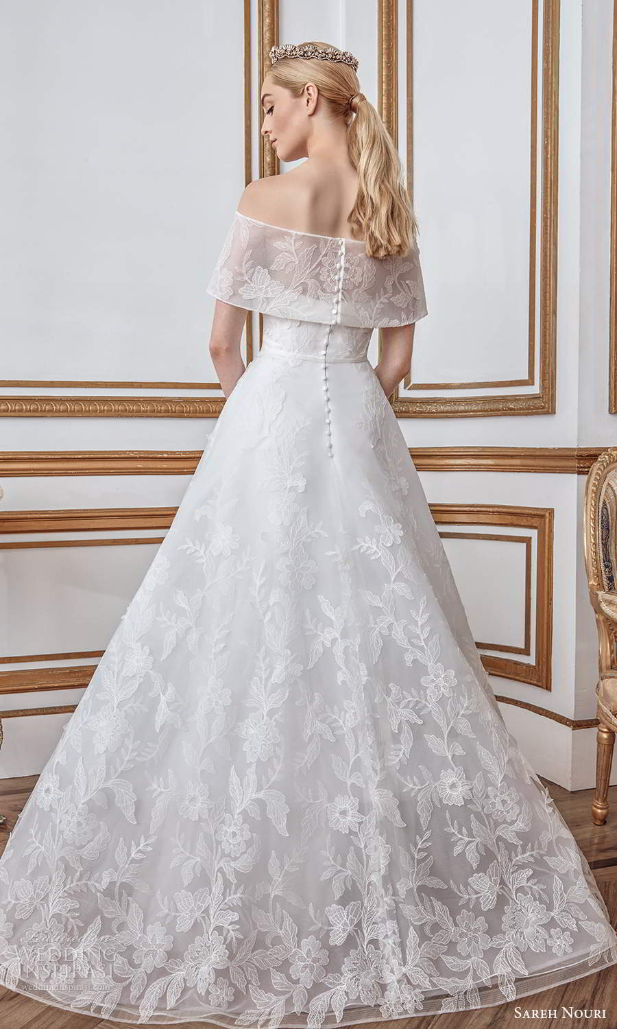 sareh nouri fall 2021 bridal short sleeves off shoulder foldover neckline fullyembellished lace a line ball gown wedding dress sweep train (4) bv