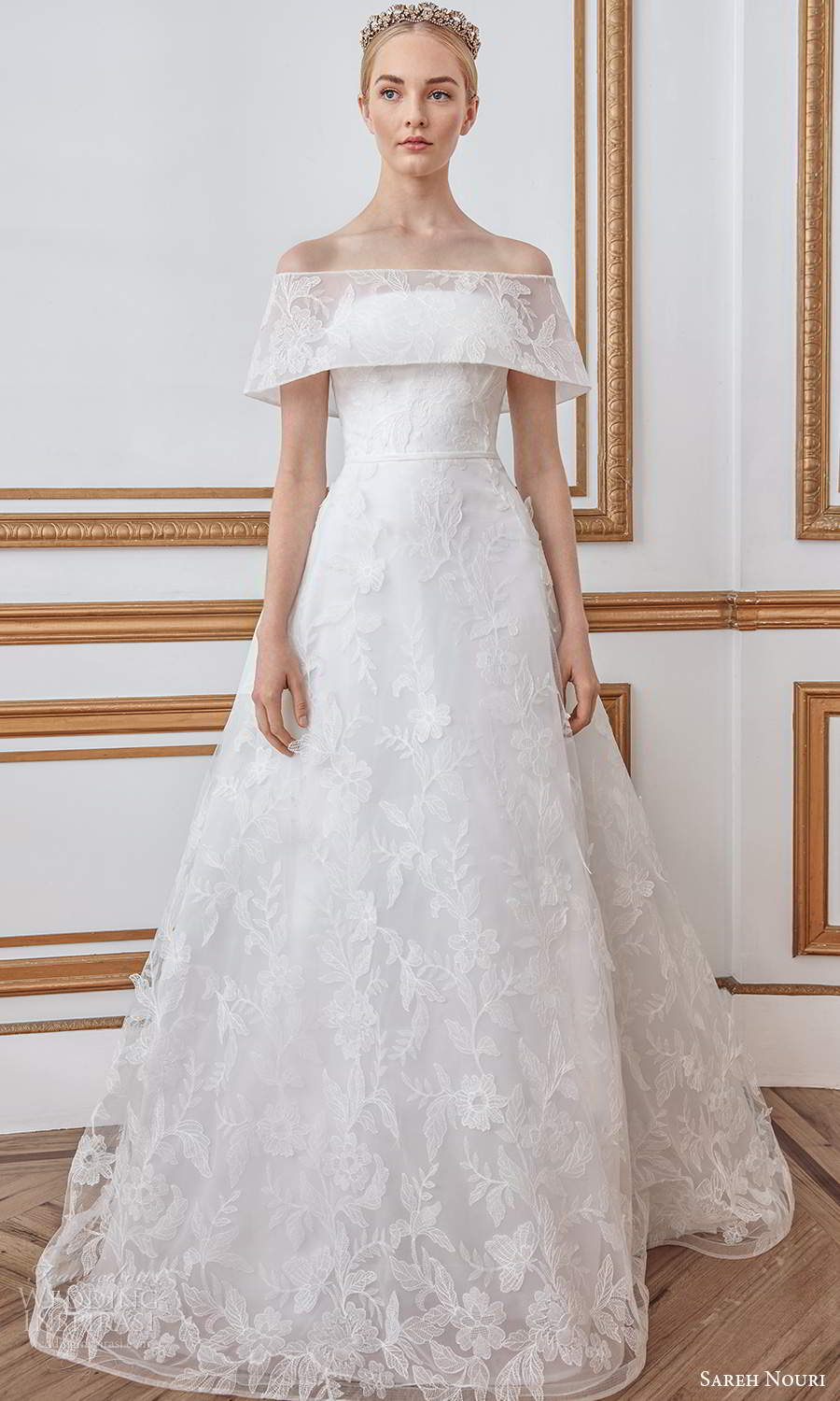 sareh nouri fall 2021 bridal short sleeves off shoulder foldover neckline fullyembellished lace a line ball gown wedding dress sweep train (4) mv