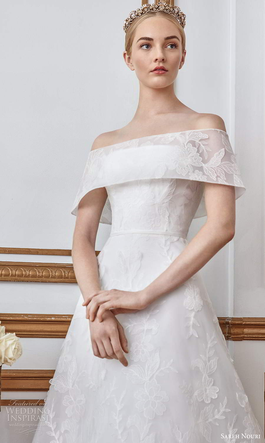 sareh nouri fall 2021 bridal short sleeves off shoulder foldover neckline fullyembellished lace a line ball gown wedding dress sweep train (4) zv