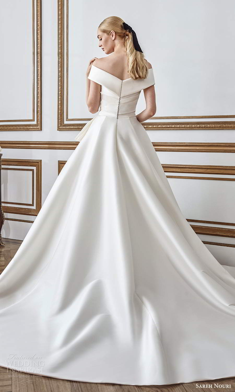 sareh nouri fall 2021 bridal short sleeves off shoulder v neckline pleated bodice bow waist clean minimalist a line ball gown wedding dress chapel train (2) bv
