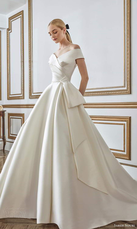 sareh nouri fall 2021 bridal short sleeves off shoulder v neckline pleated bodice bow waist clean minimalist a line ball gown wedding dress chapel train (2) mv