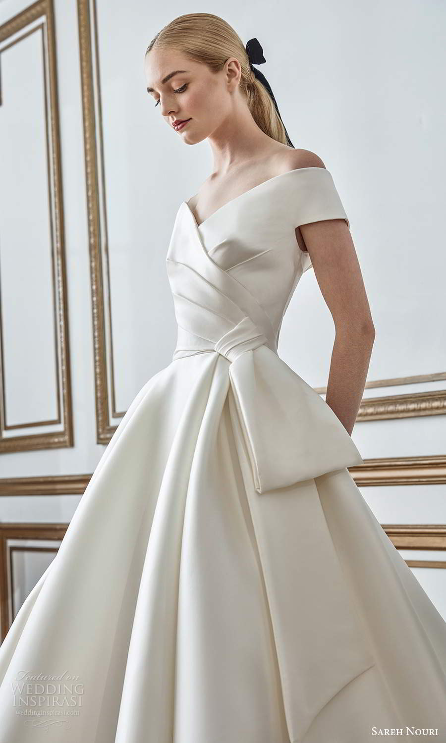 sareh nouri fall 2021 bridal short sleeves off shoulder v neckline pleated bodice bow waist clean minimalist a line ball gown wedding dress chapel train (2) zv