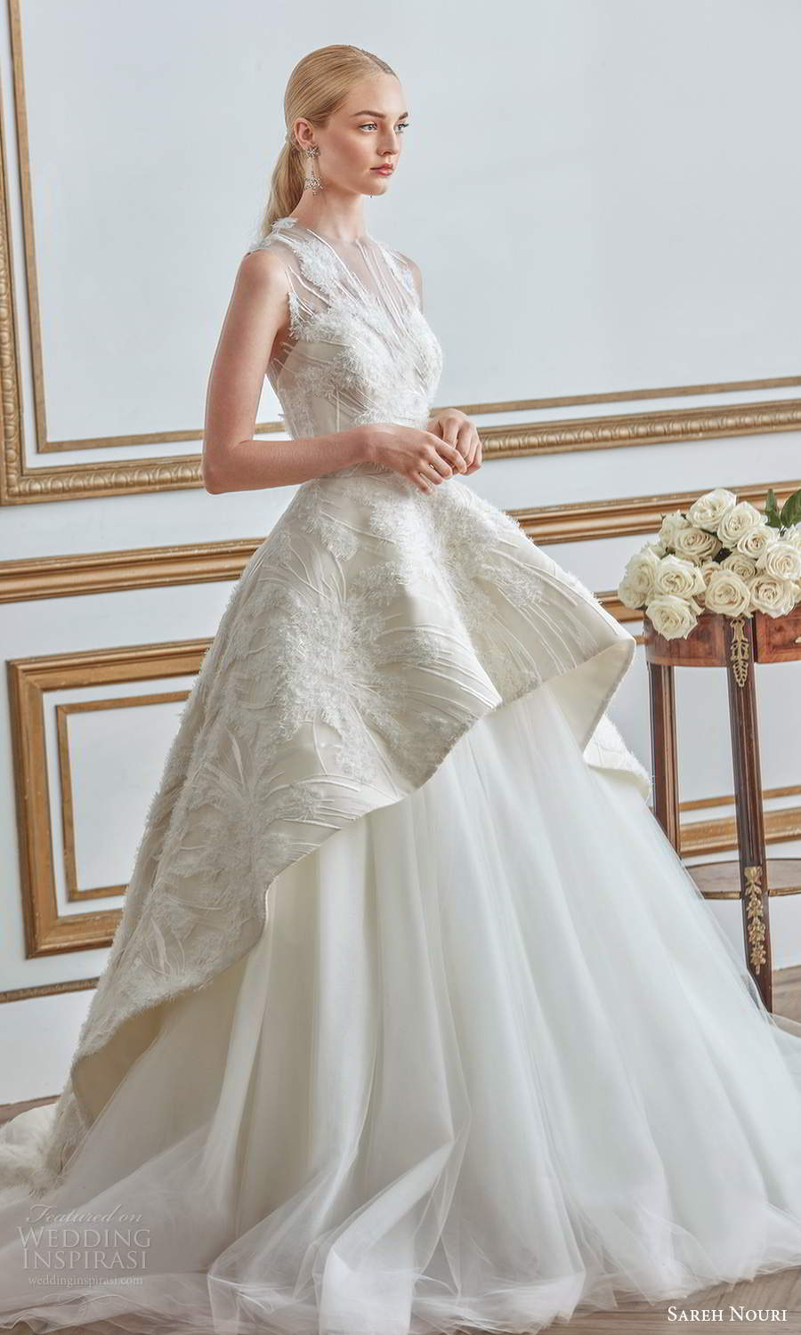 sareh nouri fall 2021 bridal sleeveless illusion jewel neck sweetheart neckline embellished bodice a line ball gown wedding dress tiered skirt chapel train (7) mv