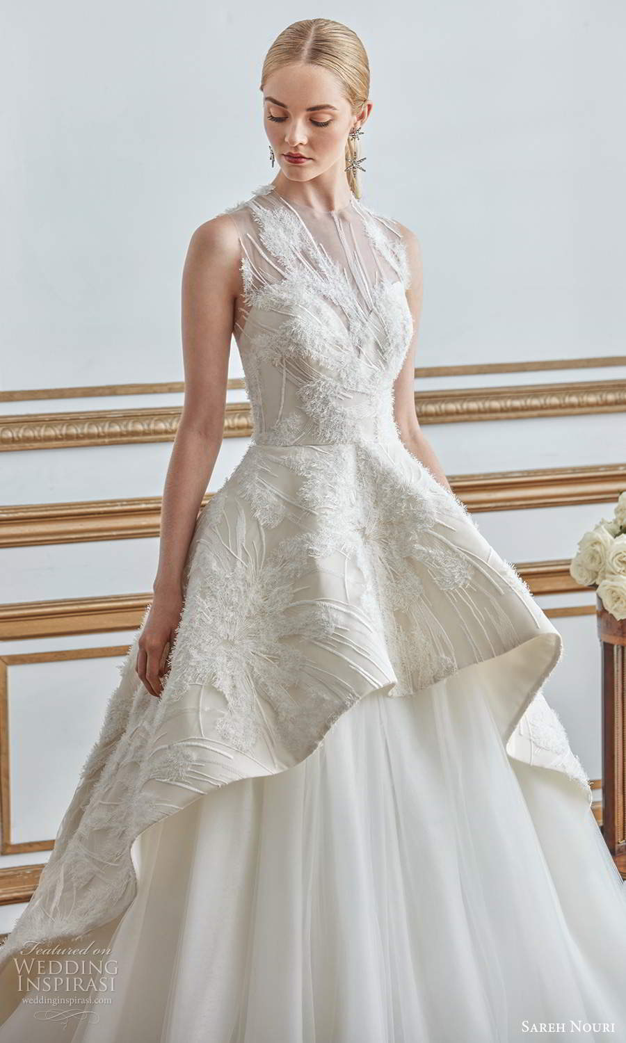 sareh nouri fall 2021 bridal sleeveless illusion jewel neck sweetheart neckline embellished bodice a line ball gown wedding dress tiered skirt chapel train (7) zv