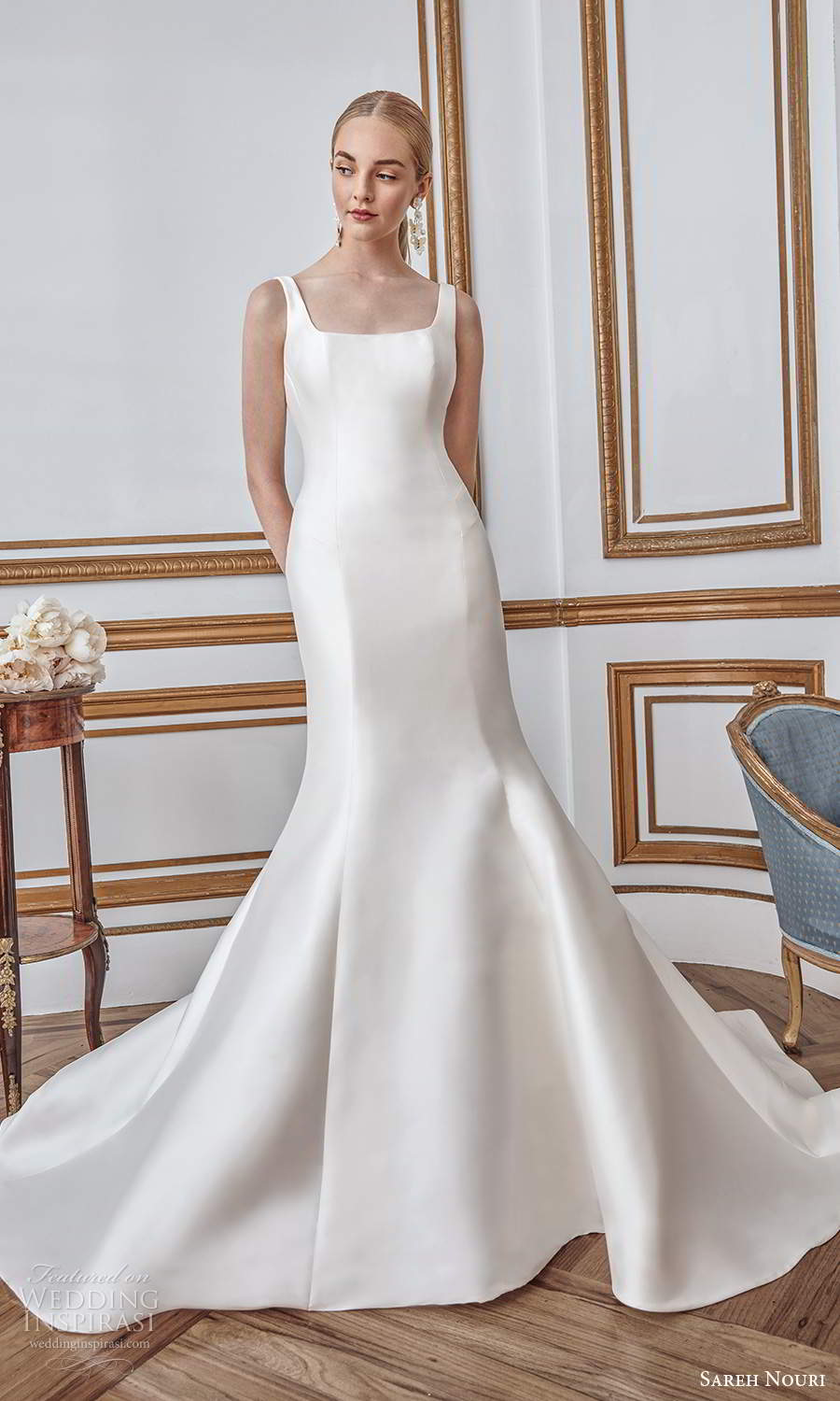 sareh nouri fall 2021 bridal sleeveless thick straps square neckline clean minimalist mermaid wedding dress bow back chapel train (5) mv