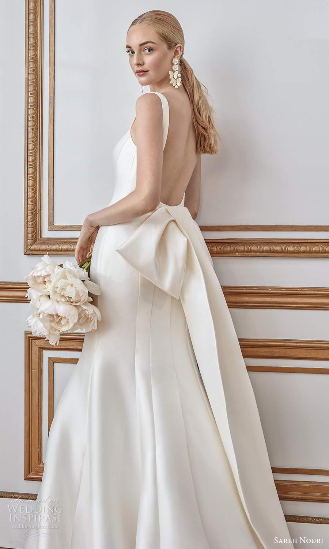 sareh nouri fall 2021 bridal sleeveless thick straps square neckline clean minimalist mermaid wedding dress bow back chapel train (5) zbv
