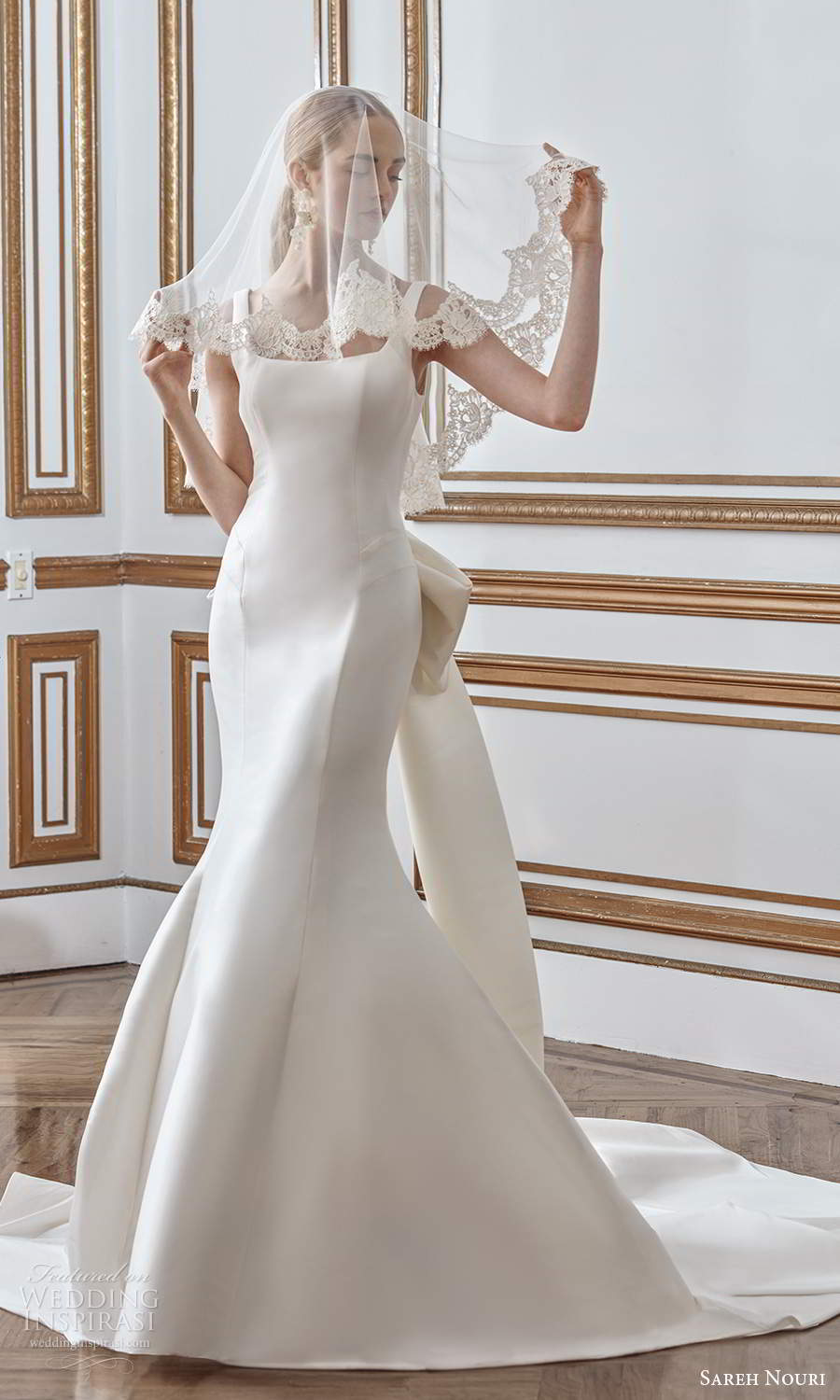 sareh nouri fall 2021 bridal sleeveless thick straps square neckline clean minimalist mermaid wedding dress bow back chapel train veil (5) mv