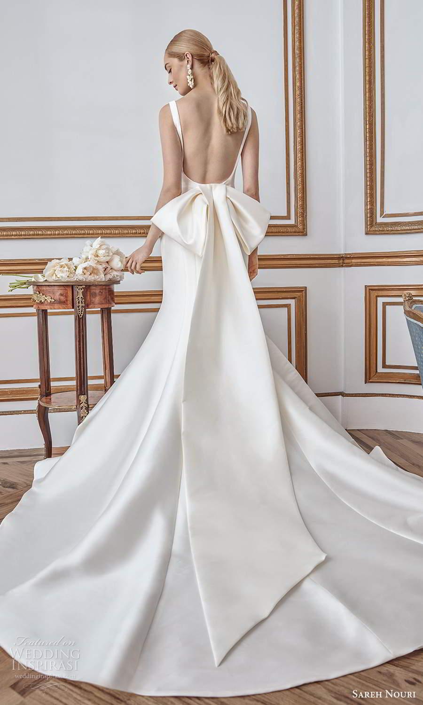 sareh nouri fall 2021 bridal sleeveless thick straps square neckline clean minimalist mermaid wedding dress bow open back chapel train (5) bv