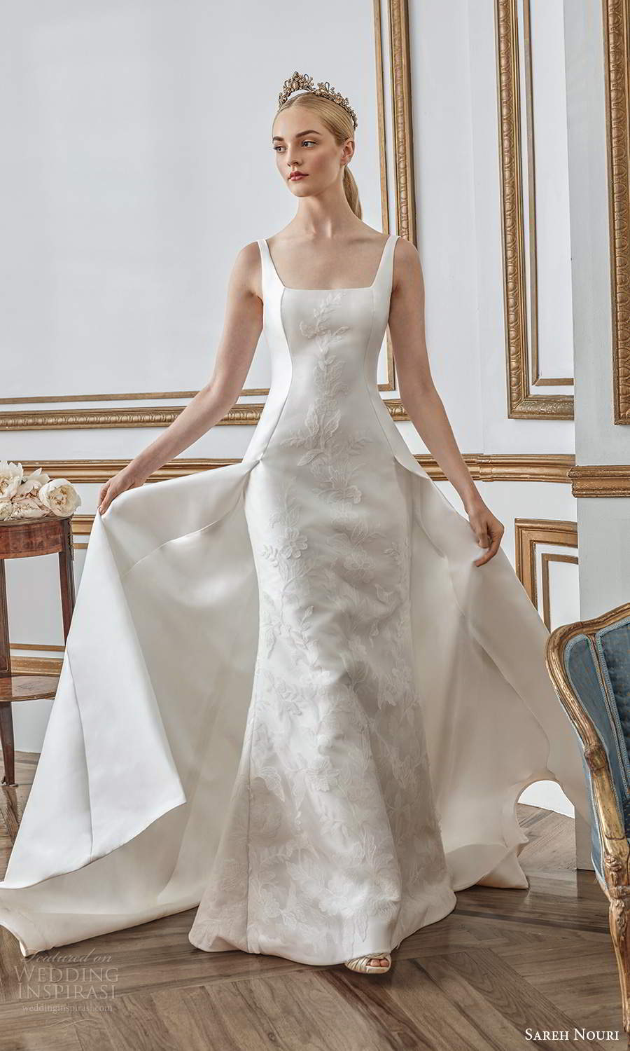 sareh nouri fall 2021 bridal sleeveless thick straps square neckline minimalist princess sheath wedding dress a line overskirt chapel train (9) mv
