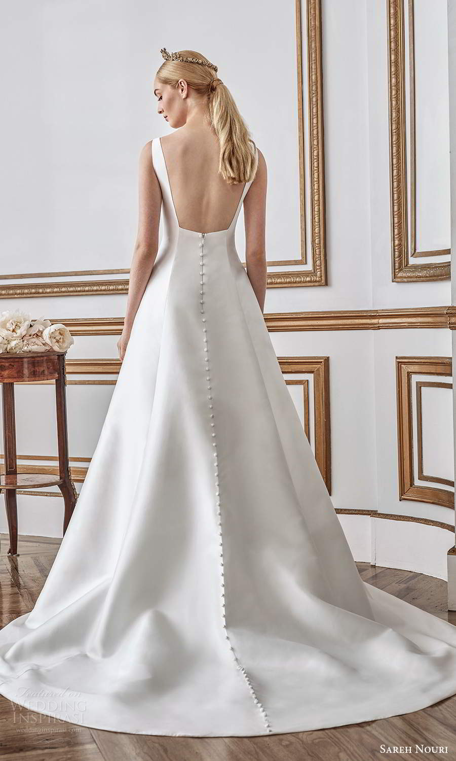 sareh nouri fall 2021 bridal sleeveless thick straps square neckline minimalist princess sheath wedding dress a line overskirt chapel train low back (9) bv