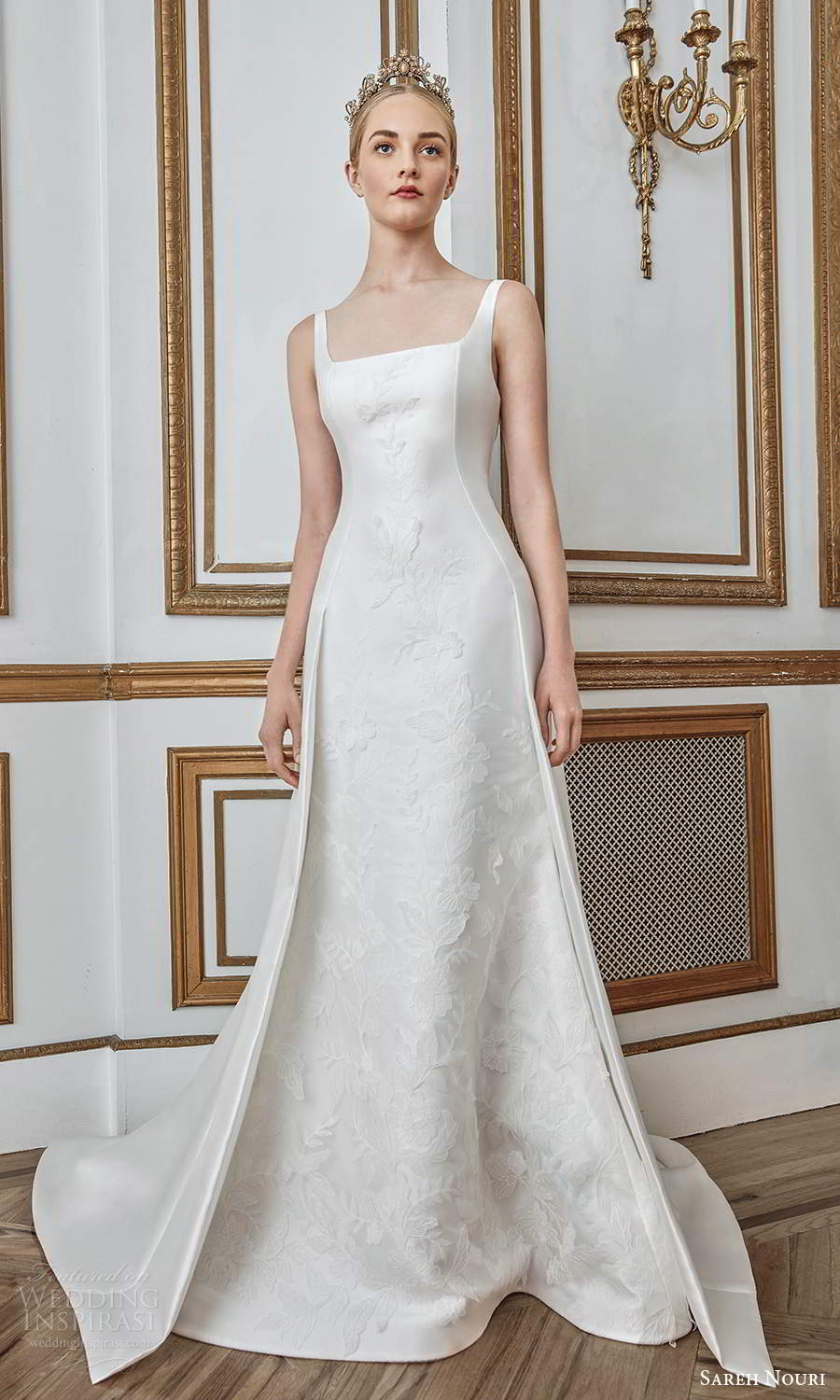 sareh nouri fall 2021 bridal sleeveless thick straps square neckline minimalist princess sheath wedding dress a line overskirt chapel train low back (9) fv