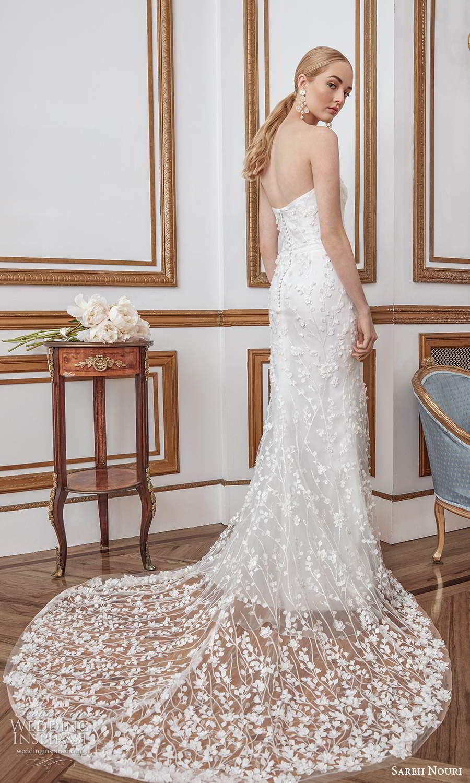 sareh nouri fall 2021 bridal strapless straight across neckline fullyl embellishe sheath wedding dress chapel train (11) bv