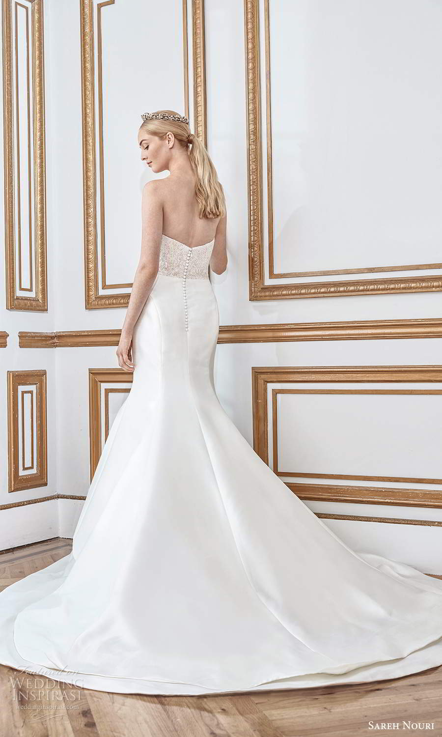sareh nouri fall 2021 bridal strapless sweetheart neckline embellished bodice clean skirt mermaid wedding dress chapel train (6) bv