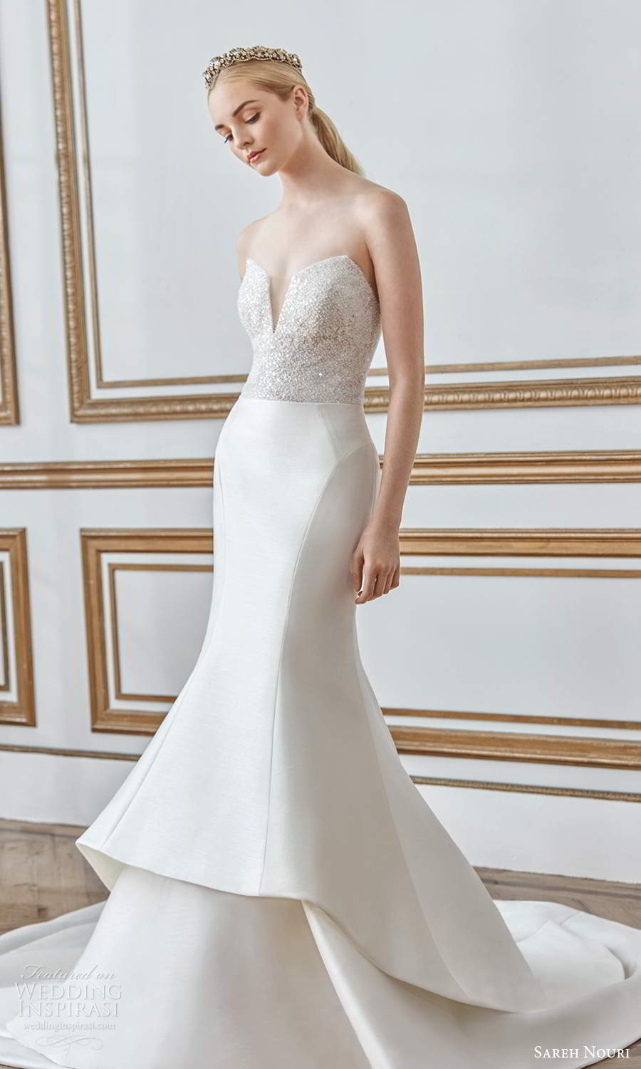 sareh nouri fall 2021 bridal strapless sweetheart neckline embellished bodice clean skirt mermaid wedding dress chapel train (6) mv