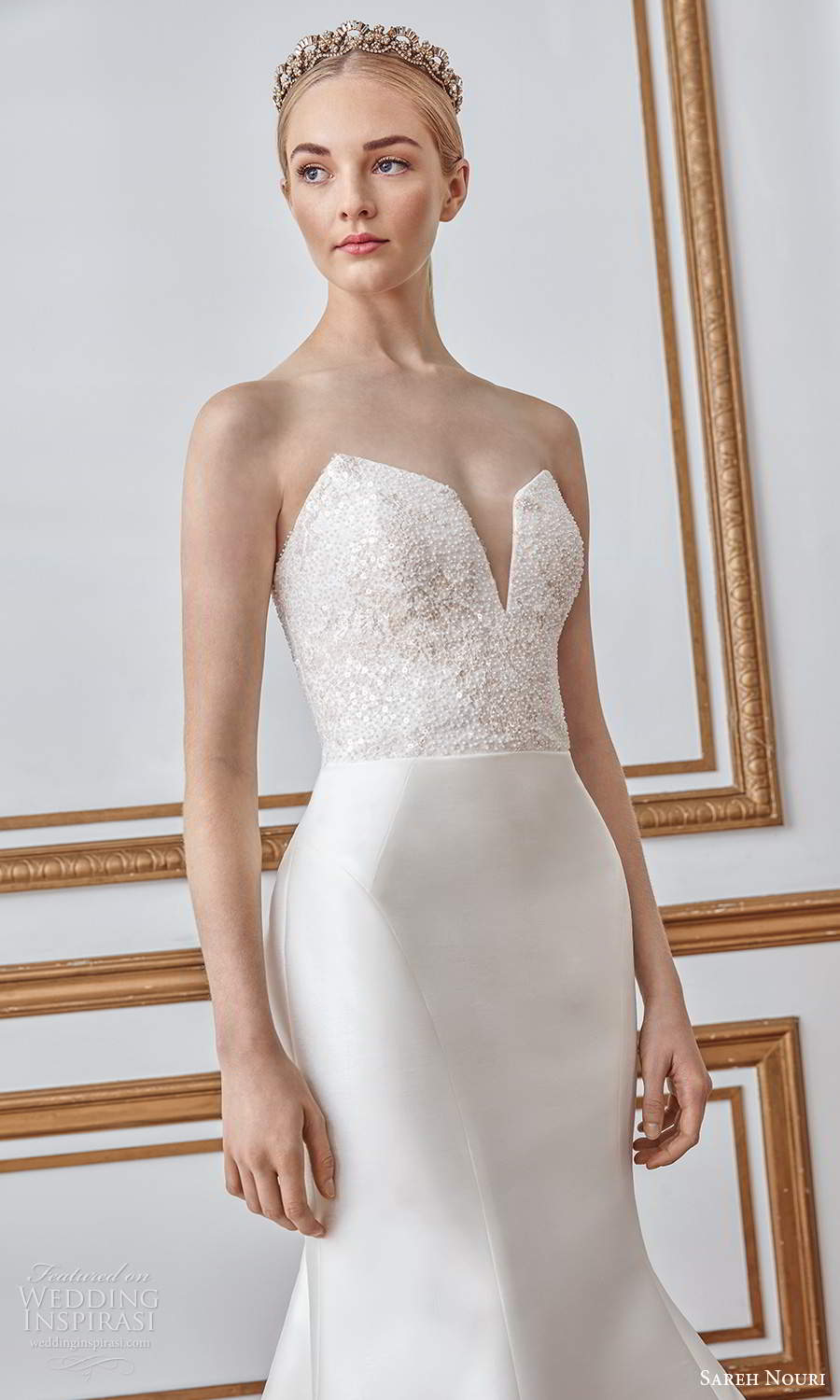 sareh nouri fall 2021 bridal strapless sweetheart neckline embellished bodice clean skirt mermaid wedding dress chapel train (6) zv