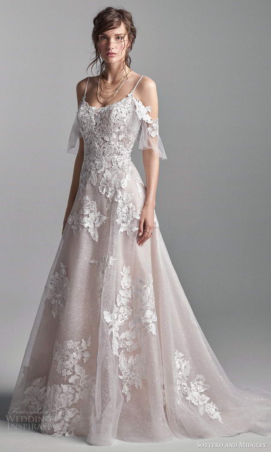 sottero midgley fall 2020 bridal cold shoulder scoop necklne embellished a line ball gown wedding dress chapel train blush (17) mv
