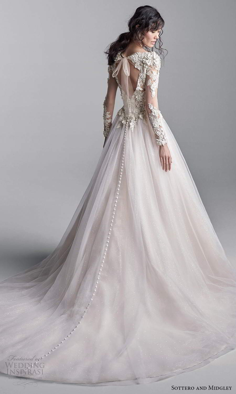 sottero midgley fall 2020 bridal illusion long sleeves plunging v neckline embellished bodice a line ball gown wedding dress blush chapel train (1) bv