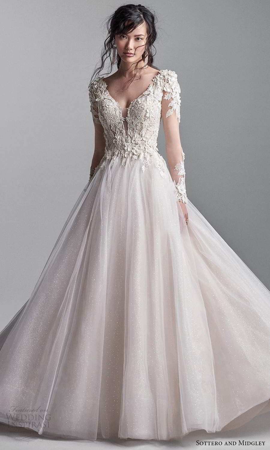 sottero midgley fall 2020 bridal illusion long sleeves plunging v neckline embellished bodice a line ball gown wedding dress blush chapel train (1) mv