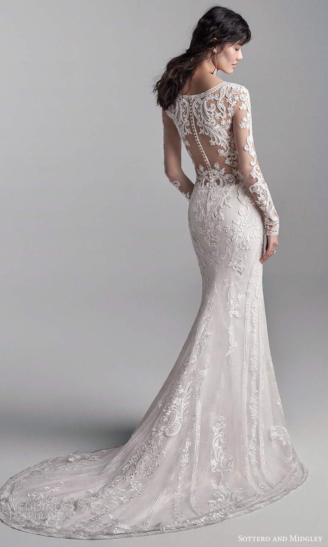 sottero midgley fall 2020 bridal illusion long sleeves v neckline fully embellished fit flare wedding dress chapel train (3) bv