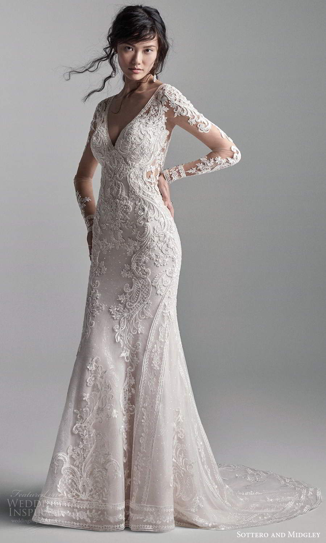 sottero midgley fall 2020 bridal illusion long sleeves v neckline fully embellished fit flare wedding dress chapel train (3) mv