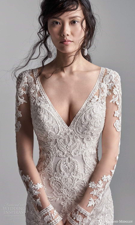 sottero midgley fall 2020 bridal illusion long sleeves v neckline fully embellished fit flare wedding dress chapel train (3) zv