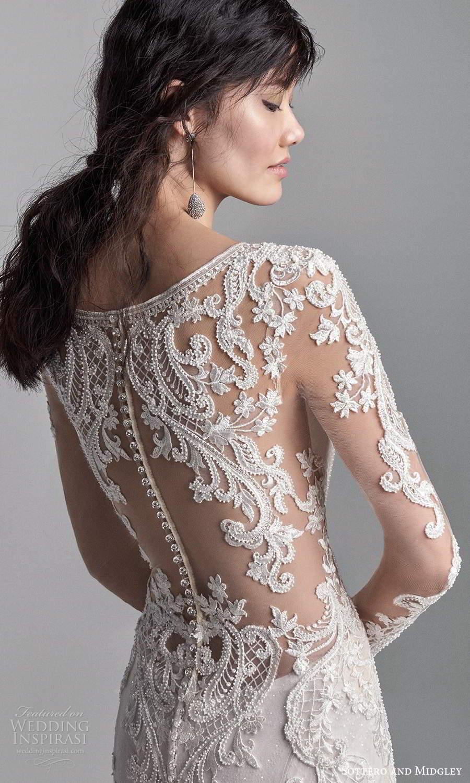 sottero midgley fall 2020 bridal illusion long sleeves v neckline fully embellished fit flare wedding dress chapel train illusion back (3) zbv