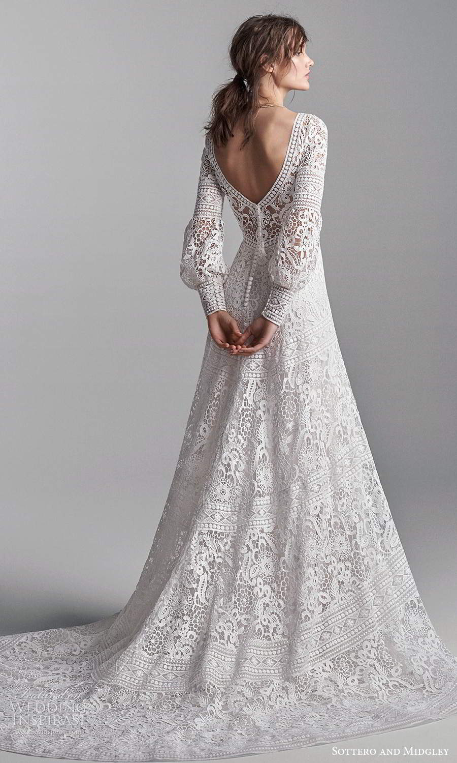 sottero midgley fall 2020 bridal long puff bishop sleeves plunging v neckline fully embellished lace a line ball gown wedding dress chapel train (11) bv