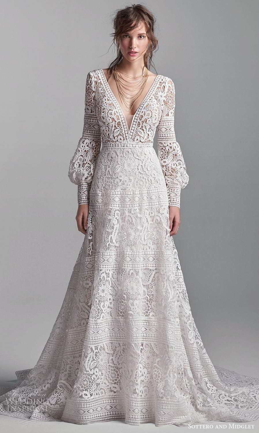 sottero midgley fall 2020 bridal long puff bishop sleeves plunging v neckline fully embellished lace a line ball gown wedding dress chapel train (11) mv