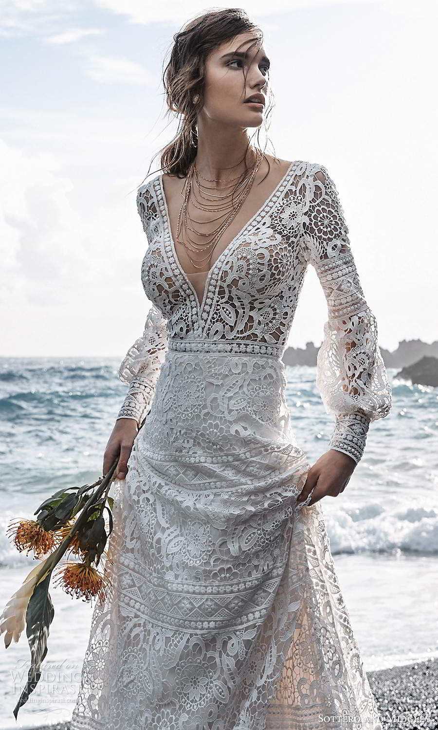 sottero midgley fall 2020 bridal long puff bishop sleeves plunging v neckline fully embellished lace a line ball gown wedding dress chapel train (11) zv