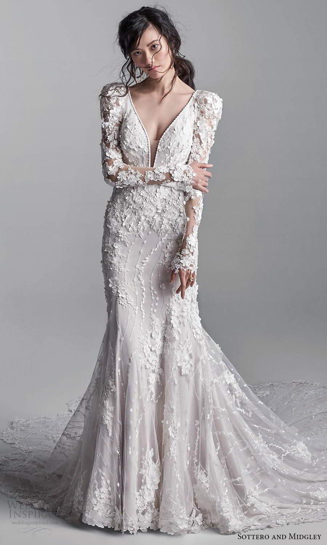 sottero midgley fall 2020 bridal long puff sleeves sleeveless straps plunging neckline fully embellished lace sheath wedding dress chapel train (2) mv