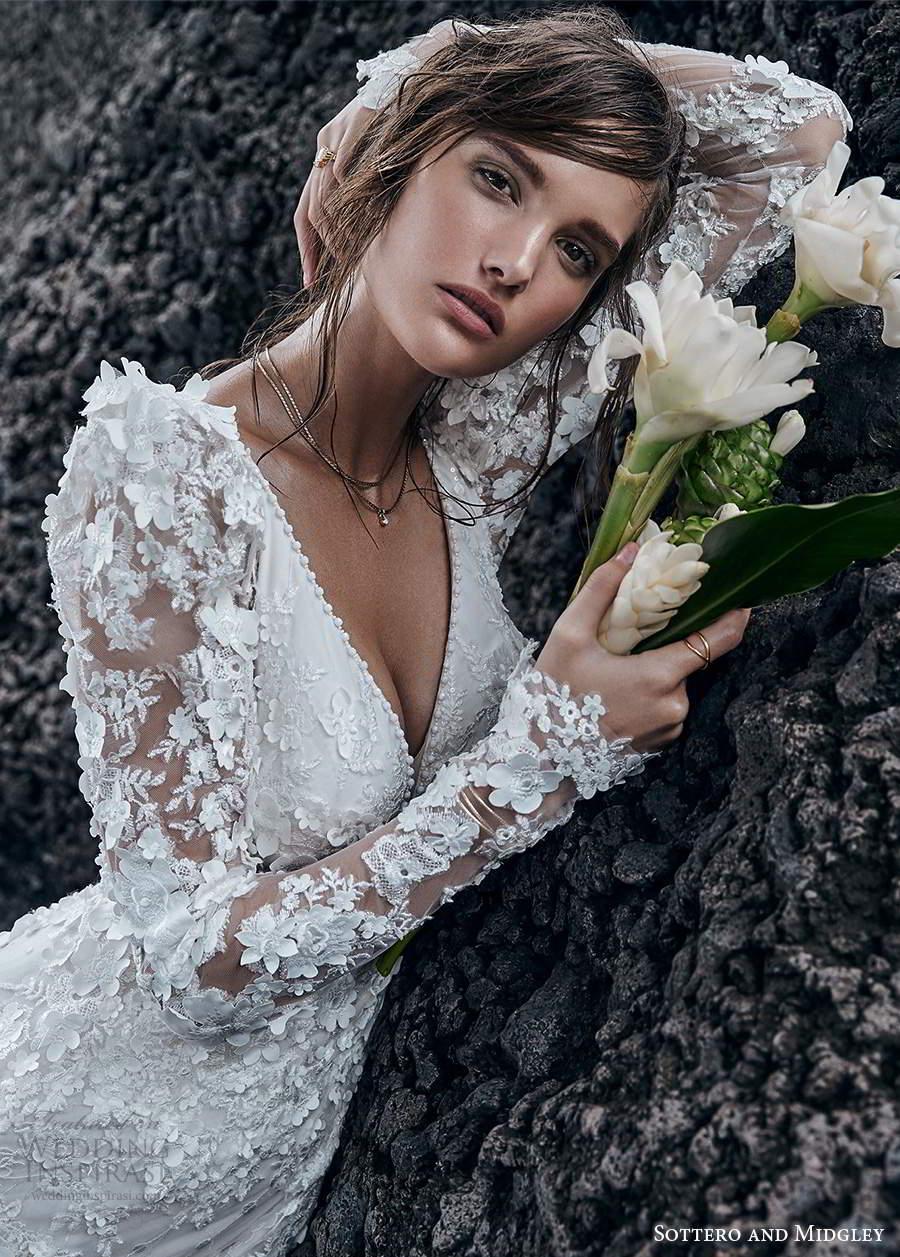sottero midgley fall 2020 bridal long puff sleeves sleeveless straps plunging neckline fully embellished lace sheath wedding dress chapel train (2) zsv
