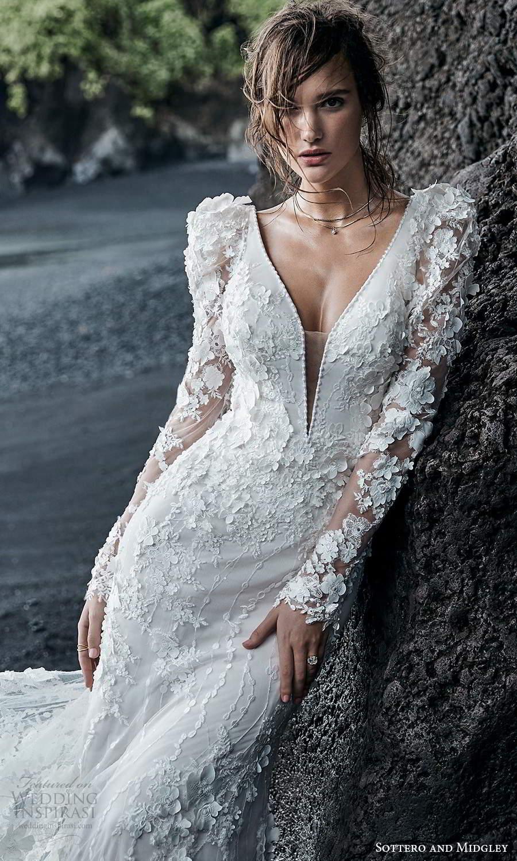 sottero midgley fall 2020 bridal long puff sleeves sleeveless straps plunging neckline fully embellished lace sheath wedding dress chapel train (2) zv