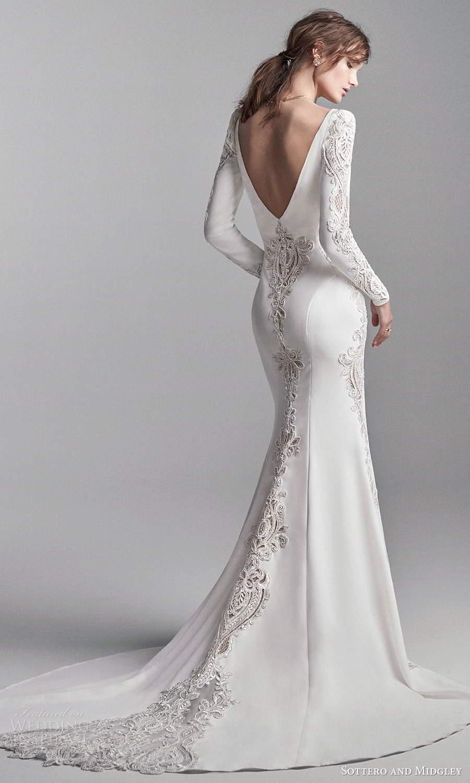 sottero midgley fall 2020 bridal long puffsleeves plunging v neckline clean modern sheath wedding dress chapel train v back (18) bv
