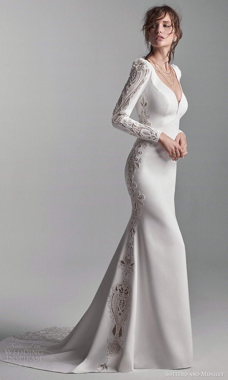 sottero midgley fall 2020 bridal long puffsleeves plunging v neckline clean modern sheath wedding dress chapel train v back (18) mv