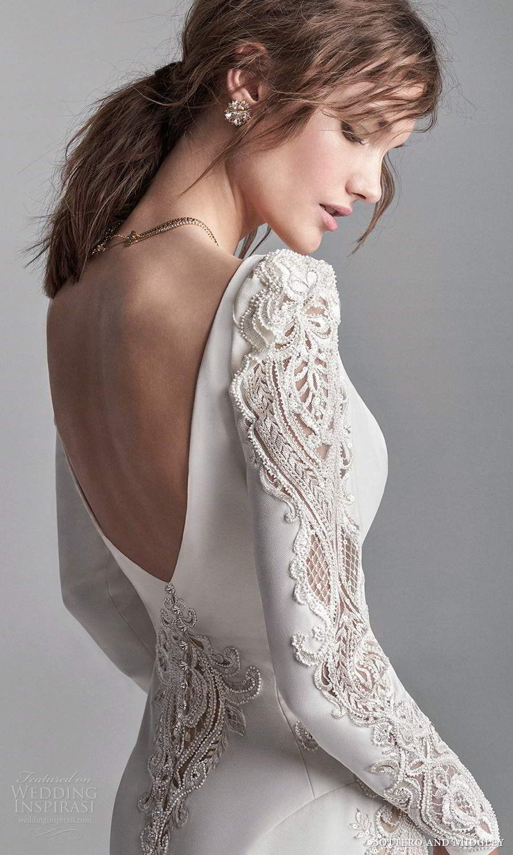 sottero midgley fall 2020 bridal long puffsleeves plunging v neckline clean modern sheath wedding dress chapel train v back (18) zbv