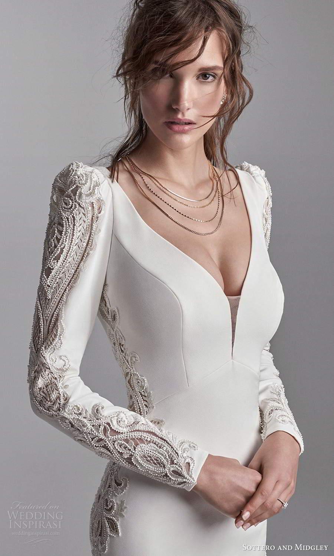 sottero midgley fall 2020 bridal long puffsleeves plunging v neckline clean modern sheath wedding dress chapel train v back (18) zv