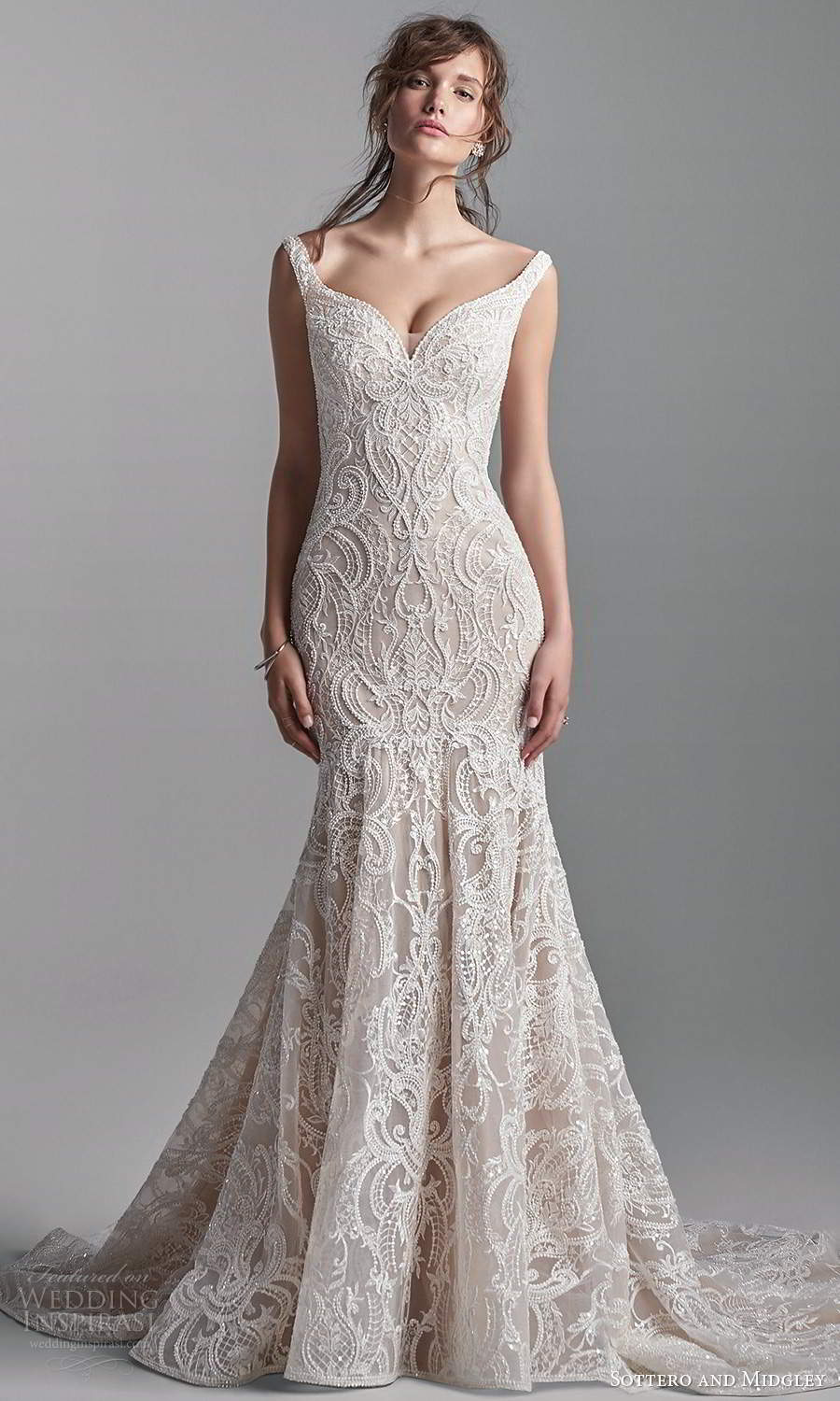 sottero midgley fall 2020 bridal off shoulder straps sweetheart neckline fully embellished lace fit flare mermaid wedding dress chapel train (12) mv