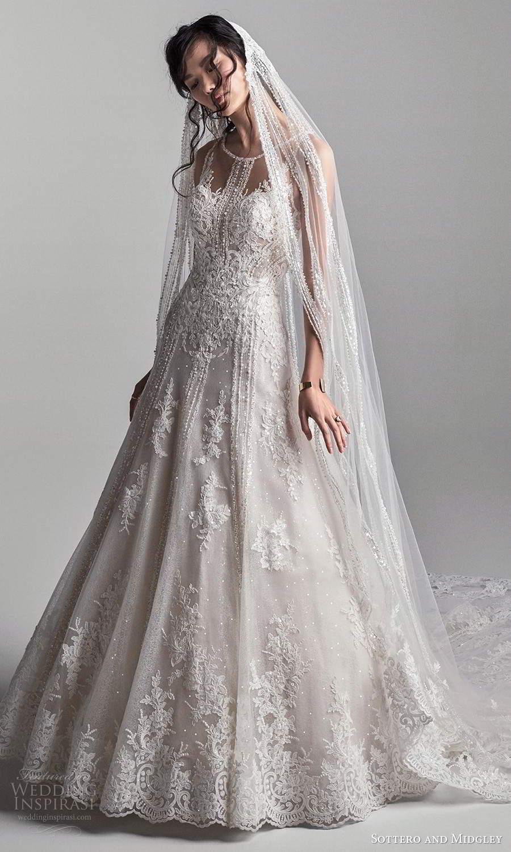 sottero midgley fall 2020 bridal sleeveless illusion jewel neckline embellished a line ball gown wedding dress chapel train veil (16) mv