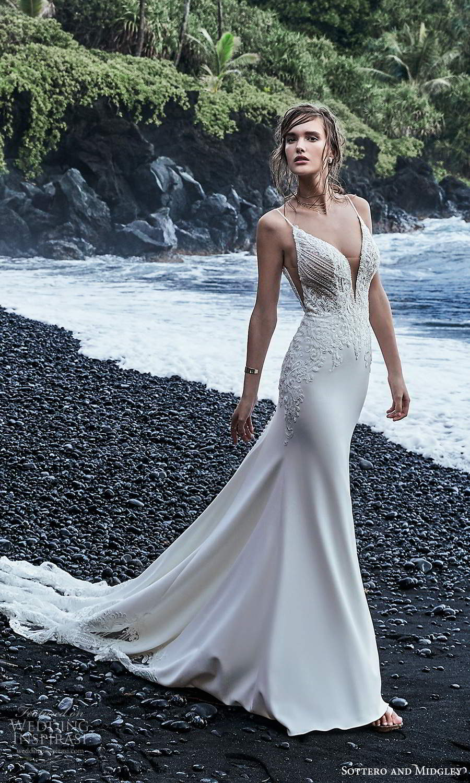 sottero midgley fall 2020 bridal sleeveless spaghetti straps plunging v neckline embellished bodice sheath wedding dress chapel train (9) mv