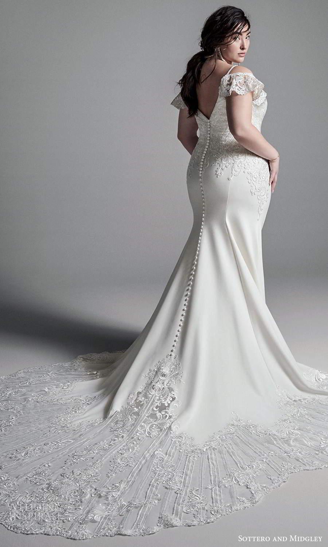 sottero midgley fall 2020 bridal sleeveless spaghetti straps plunging v neckline embellished bodice sheath wedding dress chapel train detached flutter straps (9) bv